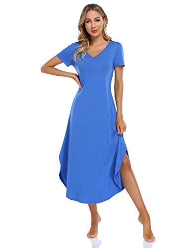 Clearlove Nachthemd Damen Langarm Nachtwäsche mit V-Ausschnitt Lange Freizeitkleid Sleepwear mit Taschen (Verpackung MEHRWEG), B-Königsblau, L