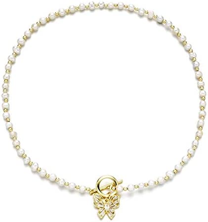 WWBGINF Pearl Choker 14K Gold Plated with Pendants Iced Out Zirconia Necklace for Women Girl product image