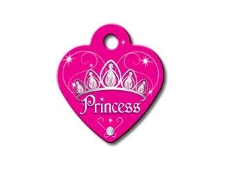 Diva Princess Collection Heart Shape Personalized Custom Engraved Pet ID Tags! (Princess, Small)
