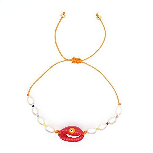 THj Bracelets Women Shell Bracelet Gift Freshwater Pearl Jewelry Summer Beach Natural Perles Handmade Adjustable Diameter 5-5.3Cm