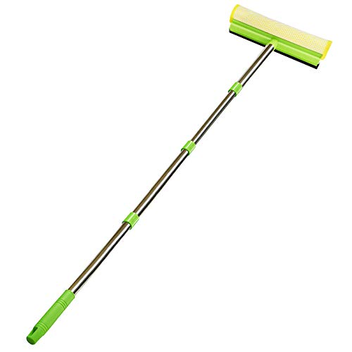 ITTAR All Purpose Window Squeegee with 58 Inch Extension Pole,Window Cleaning Tools,Sponge Car Windshield Squeegee with Long Handle for Auto Indoor Outdoor Glass-Squeegee Head 10 Inch