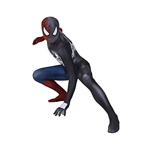 HAOWUTX Body Superhéroe Extraordinario Venom Spiderman Jumpsuit Unisex Adultos Niño Impresión 3D Party Fancy Vestido Fiesta de cumpleaños (Color : Bodysuit, Talla : 185-190cm)