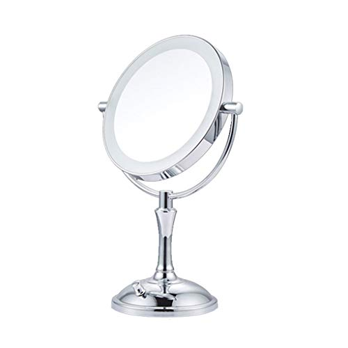 XX Xiaoxiao Miroir de Maquillage, LED de Bureau Double Face Lumière Beauté Miroir Portable cosmétiques Ronde Miroir de courtoisie (Color : Silver)