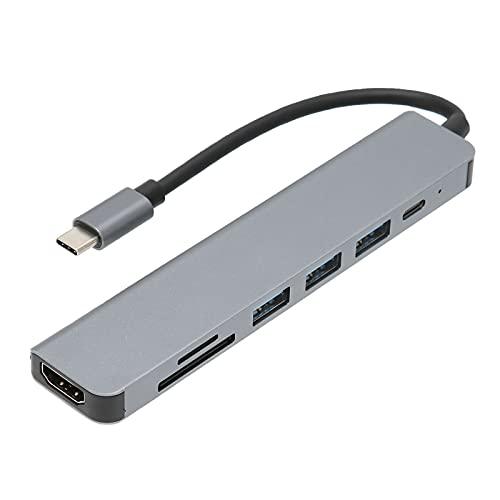 Estación de Acoplamiento USB C Hub 7 en 1 4K HDTV Multifuncional 100W PD Carga rápida Divisor USB portátil Seguro para MacBook Pro
