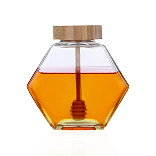 Liitrton Hexagon Shape Honey Pot Jar with Dipper Heat-Resistant Glass Storage Container for Home Kitchen (L)