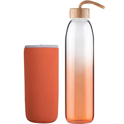 Life4u Botella de Agua de Cristal de Borosilicato de con Funda de Neopreno Sin BPA 500 ml Naranja