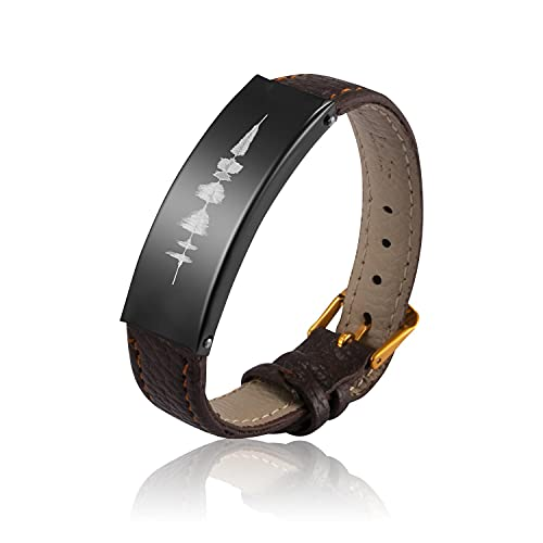 JEMUALE Sound Wave Bracelet for Women Men, Blessing Words Leather Bracelet as Gift for Lovers or Best Friend, Happy Birthday-I Hope all the Best for You-I Love You 3000-Will You Marry Me, Meaningful G...