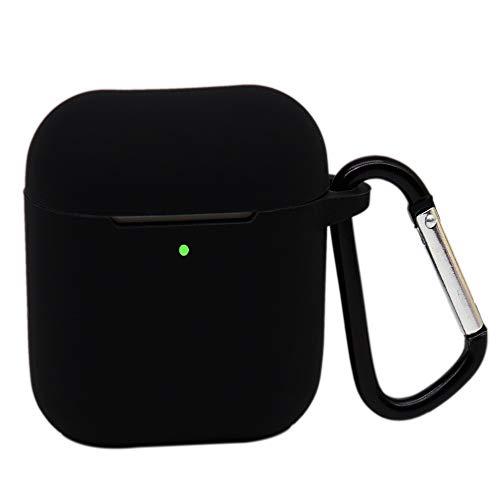 Molylove Compatibile con AirPods 2 Custodia in Silicone con portachiavi, Cover protettiva in silicone premium (Nero)