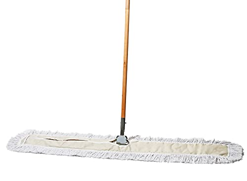 Tidy Tools 48 Inch Industrial Strength Cotton Dust Mop with Wood Handle and Frame. 48'' X 5'' Wide Mop Head with Cut Ends - Hardwood Floor Broom