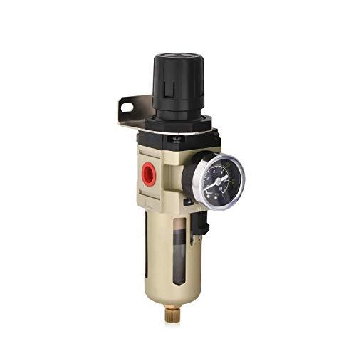 Separatore d'acqua Riduttore di pressione Regolatore aria compressa per compressore aria compressa, con schermo metallico, filtro da 3/8 di pollice