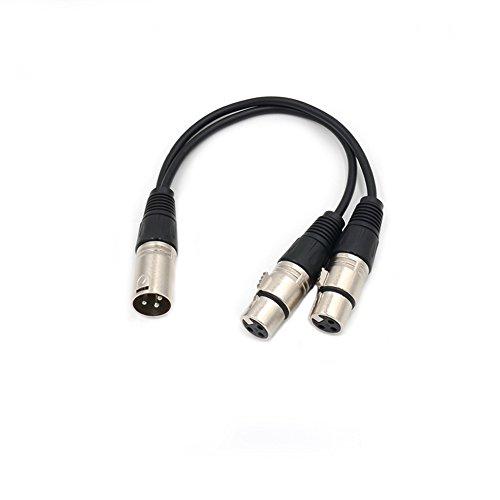 XLR-Splitter-Kabel–JLTPH 3-poliger-XLR-Splitter, Y-Adapterkabel-Stecker auf 2DMX-Kabelbuchsen für Mikrofone