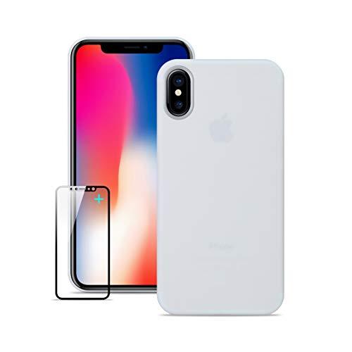 Coque iPhone X , Ultra mince Ultra léger fin pleine entourée de Coque de protection Coque pour iPhone X avec gratuit Verre Trempé protection d'écran et Film de protection d'écran HD souple