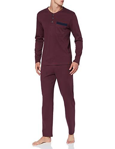 Seidensticker Herren Men Pyjama Long Pyjamaset, Burgund, 048