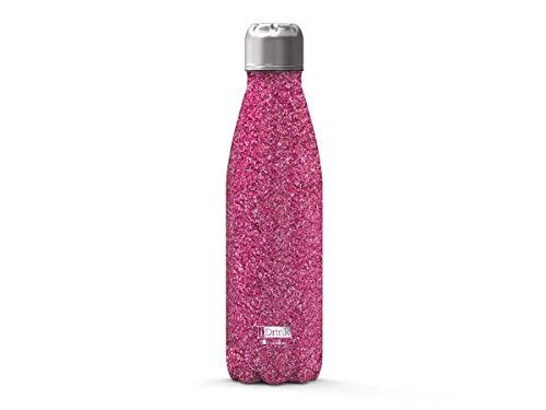 i-Drink Botella 500ML de Doble Pared Acero, térmica, Purpurina Glitter (Glitter Fucsia)