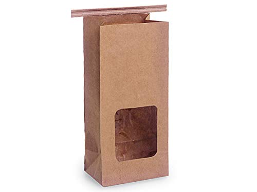 Amazing Deal Paper Tin Tie Coffee Bags - Bulk PLA Lined Kraft 1/2 lb Tin Tie Recycled w/Window 3-3/8...