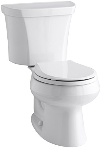 KOHLER K-3987-RA-0 Wellworth Round-Front Dual-Flush Toilet with Class Five Flush Technology and Right-Hand Trip Lever, White, 2 Piece
