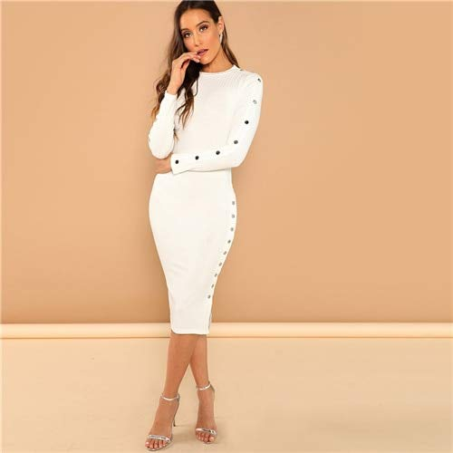 GMZA White Office Lady Solid Mock Neck ribgebreide lange mouwen Bodycon Skinny jurk herfst workwear elegante vrouwen potloodjurken