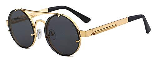 QIULING Retro Sonnenbrille Runde Sonnenbrille Herren Steampunk Sonnenbrille Klassische Metall Retro Sonnenbrillen für Damen & Herren Sonnenbrillen UV400 Schutz Metall Rahmen Gold