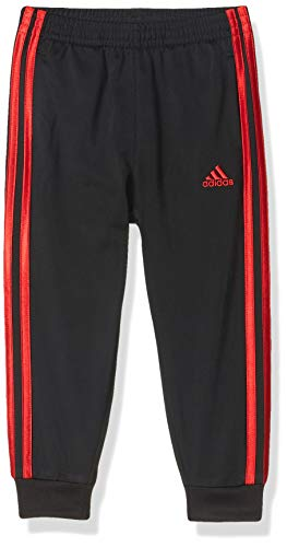 adidas Boys' Active Sports Athletic Tricot Jogger Pant, Black/Red, 4T