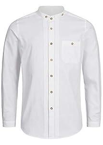 Stockerpoint Trachtenhemd OC-Fredi | Weiss mit Stehkragen| Regular Fit (XXL, Weiß)
