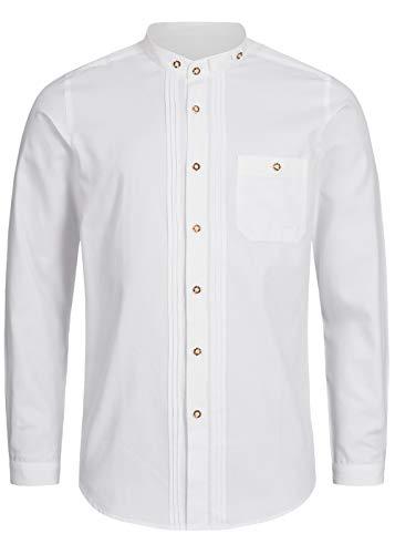 Stockerpoint Trachtenhemd OC-Fredi | Weiss mit Stehkragen| Regular Fit (XL, Weiß)