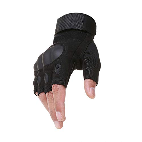 Barsly Tactical Fingerless Gloves Military Army Shooting Bicycle Motorcross Combat Hard Knuckle Half Finger Gloves Black M