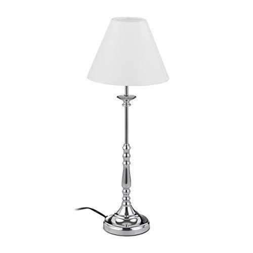 Relaxdays Tischlampe Vintage, Stoff Lampenschirm, spiegelnd verchromt, Dekolampe, E14, H x D 55 x 21 cm, silber/weiß
