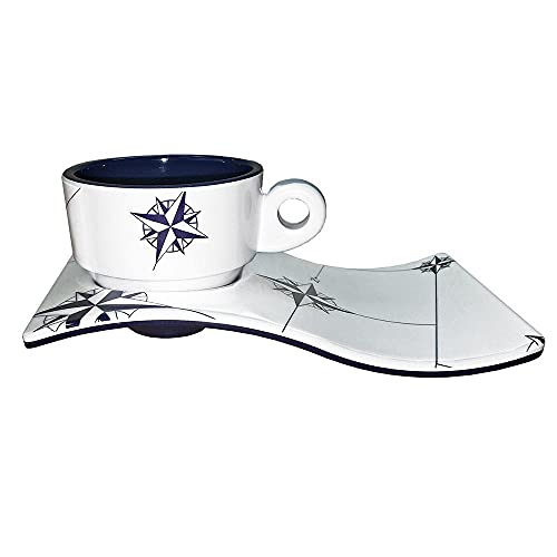 Marine Business Northwind Tazza e piattino caffè, Melamina, Bianco/Blu, 6.5x 6.5x 5.2cm, 6Pezzi