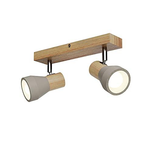 Lindby LED Deckenlampe/Wandlampe Holz Beton   Deckenstrahler schwenkbar & drehbar   inkl. 2 x 4,5W LED Leuchtmittel A+ austauschbar   3.000K   Strahler