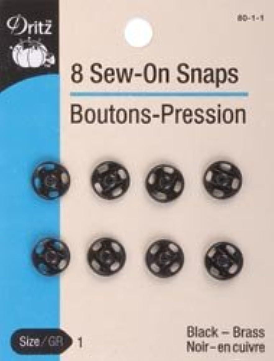Bulk Buy: Dritz Black Sew On Snaps Size 1 8/Pkg 80-1-1 (3-Pack)