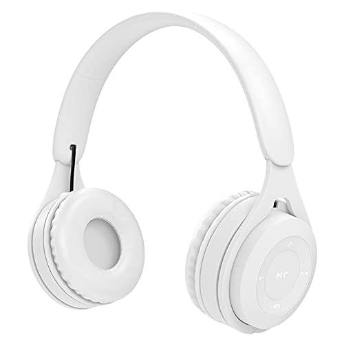 NiceJoy Auriculares inalámbricos Blancos sobre Auriculares estéreo Coloridos para el oído Auriculares de Moda para los Deportes Buit en Mic para teléfono Celular, PC, TV, PC