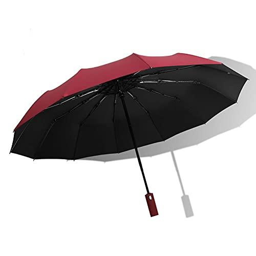vino tinto,Paraguas de viaje plegable a prueba de viento Se cierra automáticamente Se abre automáticamente Diseño liviano Paraguas compacto, fácil de transportar, asa antideslizante con 12 varillas