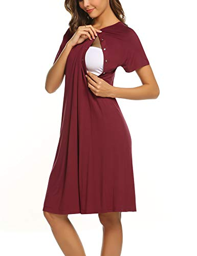 Ekouaer Nursing Nightgown Women's Short Sleepwear Dress Maternity Hospital Gown(Wine Red,S)
