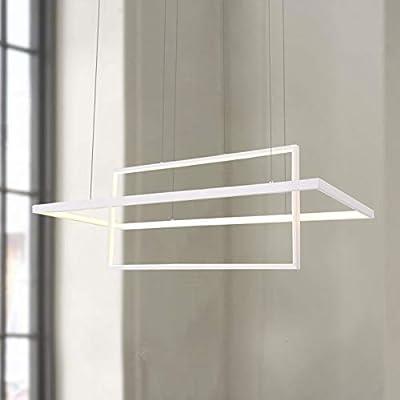 """Leniure White Modern Square Cube LED Light Pendant Lamp Chandelier Lighting Fixture 33.5"""" Wide 15"""" Deep 11.8"""" High, Warm White 3000K"""