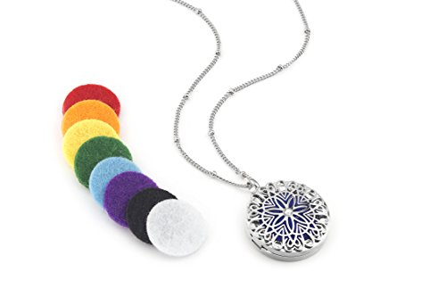 Flower Burst Essential Oil Aromatherapy Diffuser Necklace (Silver) - Hypoallergenic 316L Surgical Grade Stainless Steel, 21' Chain + 9 Washable Insert Pads