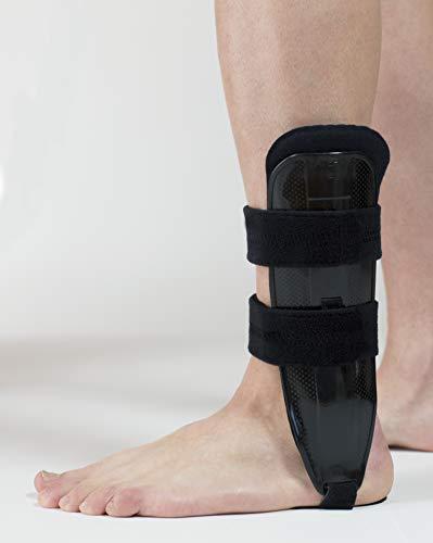 Cavigliera Bivalve Argos Made in Italy | Tutore Cavigliera Bivalve Regolabile con imbottitura Memory Foam | Immobilizzazione Articolazione Tibio-Tarsica & Protezione Caviglia (Sinistra, Nero)