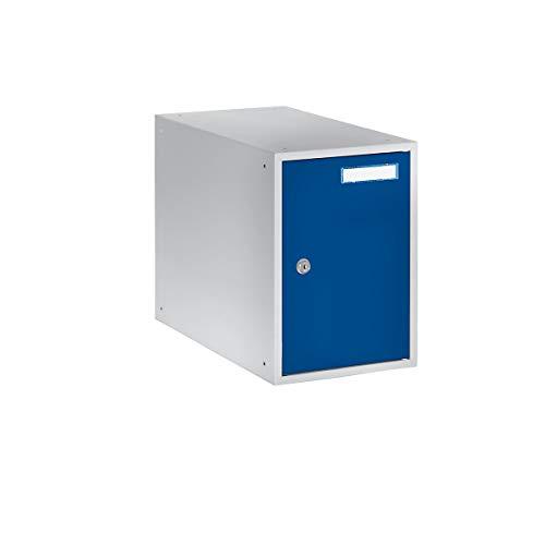 QUIPO Casier verrouillable - h x l x p 350 x 250 x 450 mm - corps gris clair - portes bleu gentiane - vestiaire petit modèle - casier consigne - caisson métallique effets personnels