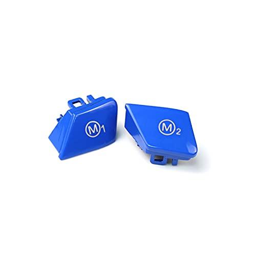 QINGZHONG 2個のPCSブルー レッド イエローカーステアリングホイールM1 M2モードボタンスイッチカバーフィットBMW M3 M4 M5 M6 X5M X6M F06 F15 F15 F15 (Color : Blue)