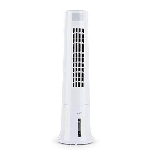 Klarstein Highrise - 3-in-1 Luftkühler, Ventilator, Luftbefeuchter 35W 530 m³/h max.2,5L Eispack, drei Ventilationsmodi, Oszillationsfunktion, Timer, Tragemulde, Fernbedienung weiß
