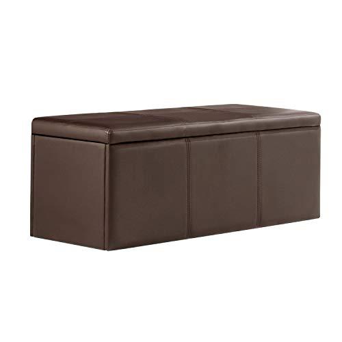 Adec - Universal, Baul, Banco, Puff de almacenaje, arcon elevable Acabado en símil Piel Color Chocolate, Medidas: 120 cm (Largo) x 40 cm (Ancho) x 40 cm (Fondo)