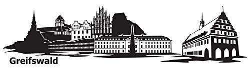 Wandtattoo Skyline Greifswald XXL Text Stadt Wand Aufkleber Wandsticker Wandaufkleber Deko sticker Wohnzimmer Autoaufkleber 1M169, Skyline Größe:Länge 160cm