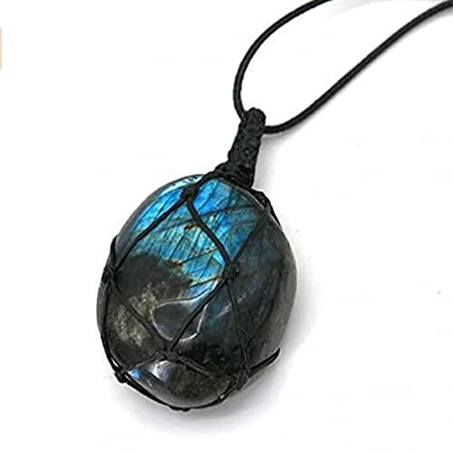Collar con Colgante en Forma de Corazón Colgante de Cristal Irregular Collar de EnergíaLabradorita70 cm