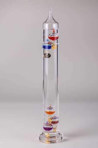 IDYL Galileo, termometro in vetro, cilindro in vetro con sfere di vetro colorate e numeri di grado, altezza 42 cm, multicolore
