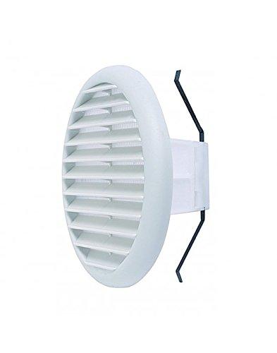 Vecamco - Griglia ventilazione tonda PVC con molle e rete, per fori da Ø80-125 mm, Ø145mm, Bianco