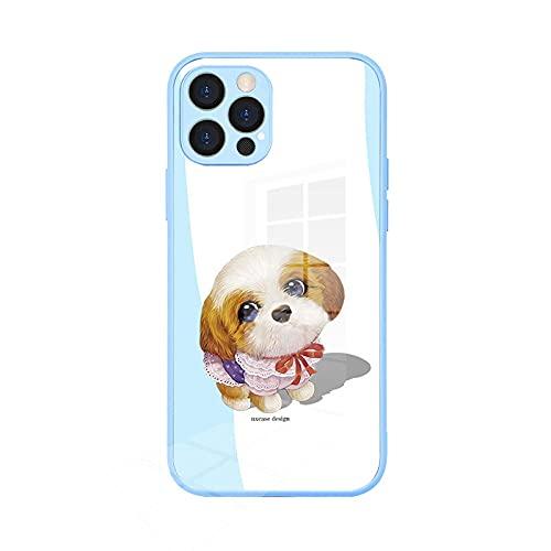 Adecuado para Apple iPhone12 caso de teléfono de cristal pro max todo incluido lindo mascota cubierta protectora azul cielo _ 7 Pro