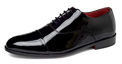 Carlos by Carlos Santana Men's Cap-Toe Tuxedo Oxford Dress Shoes (Black Calfskin Patent Leather, Numeric_12)