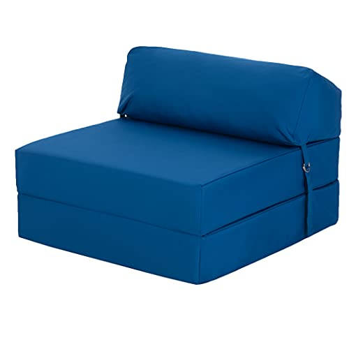 Ready Steady Bed Comfortable Fold Out Z Bed Chair   Sofa Bed Futon Lightweight   Soft Water resistant Cover   Ergonomically Designed Single Mattress Zbed (Blue)