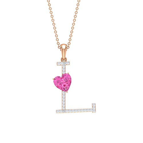 Rosec Jewels – L Initial Pendant, 1.5 CT Lab Created Pink Sapphire Pendant, D-VSSI Moissanite Necklace (AAAA Quality), 14K Rose Gold