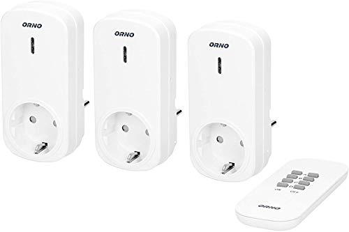 Orno OR-GB-417(GS) Funksteckdosenset mit Fernbedienung 3er Set 4 Kanal für Licht, Haushaltsgeräte, Audio-Video || Weiß || Schuko