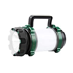 High Brightness Camping Lantern- Made of superb LED chips, the main beam gives out brightness up to 1000 lumen with a long illumination distance of 300m (1000ft), bright enough for outdoor searching and emergencies. 6 Lighting Modes Rechargeable Lant...